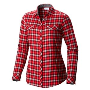 Columbia Wmns Flannel Plaid Shirt Long Sleeve M